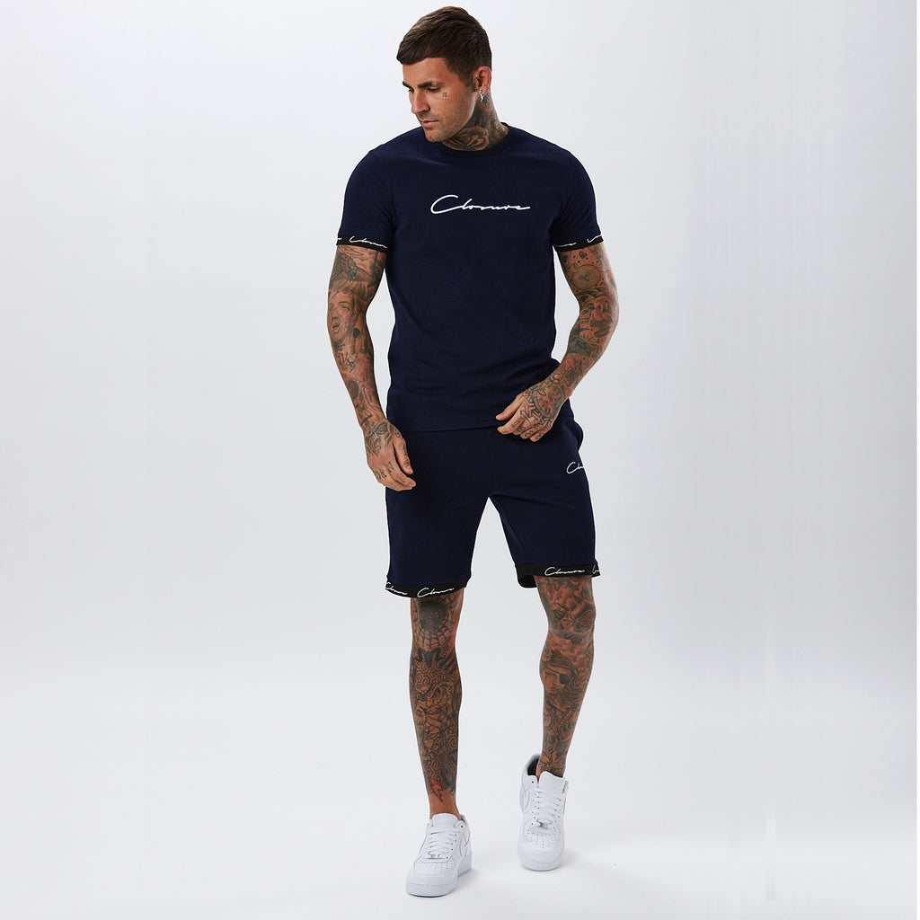 Hidden Logo Band Short | Navy