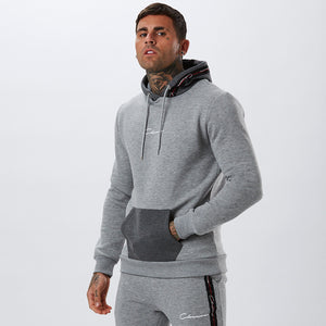 Contrast Taped Hoody | Grey