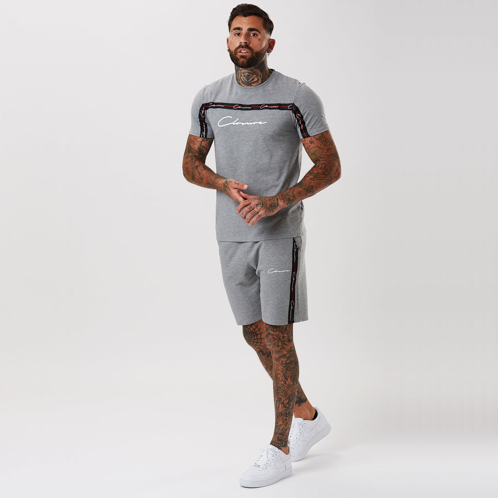 Script Tee with Taping | Grey
