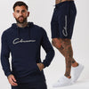 Double Script Hoody & Short Set | Navy