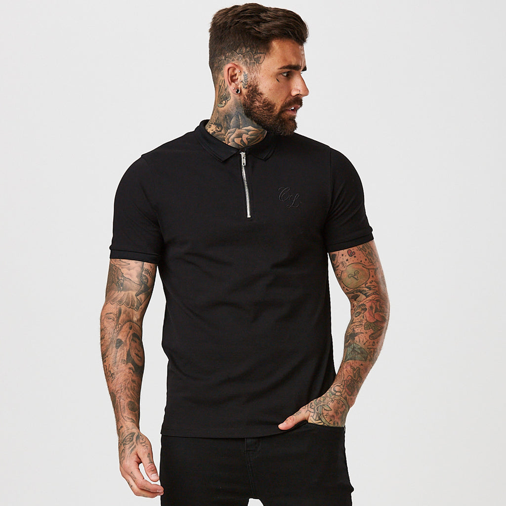 Zipped Polo with Raised Tipping | Black