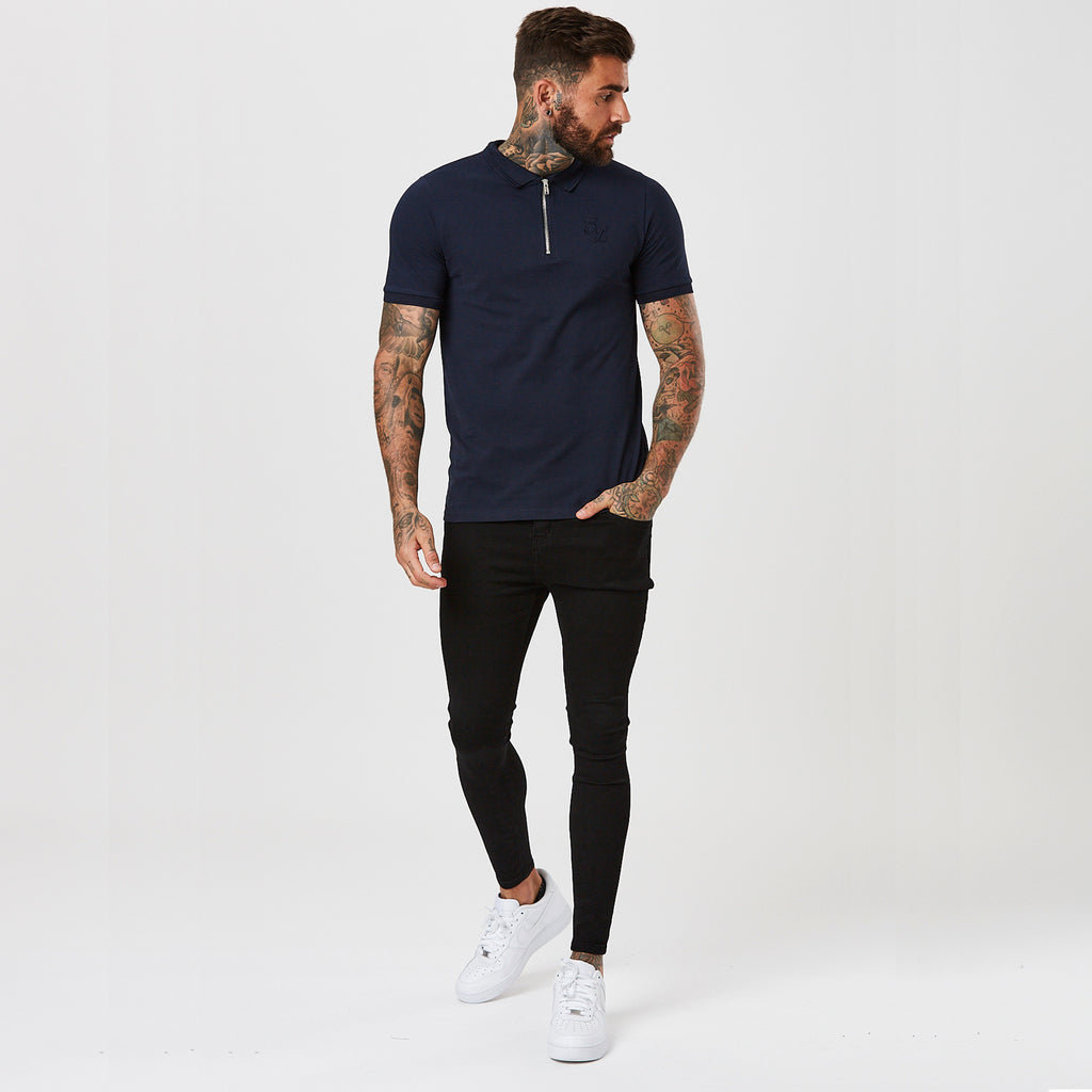 Zipped Polo with Raised Tipping | Navy