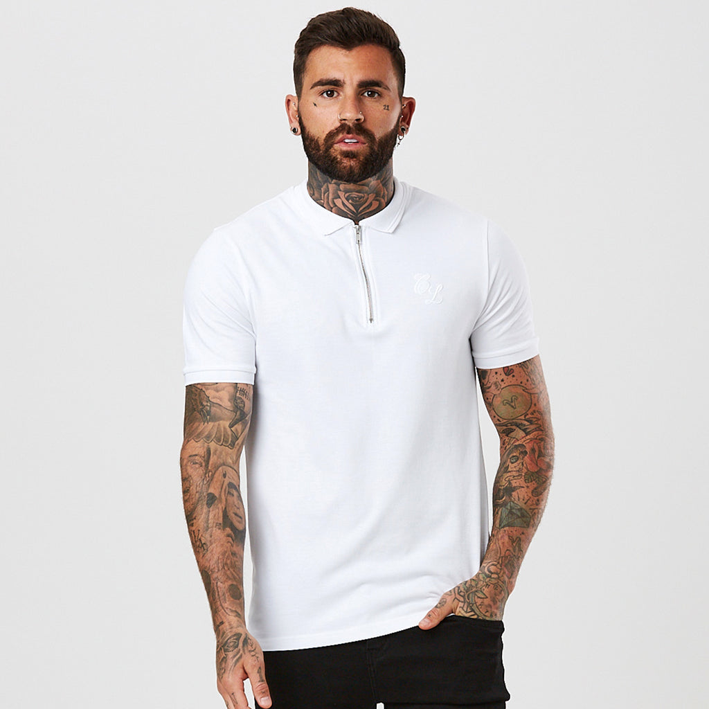 Zipped Polo with Raised Tipping | White