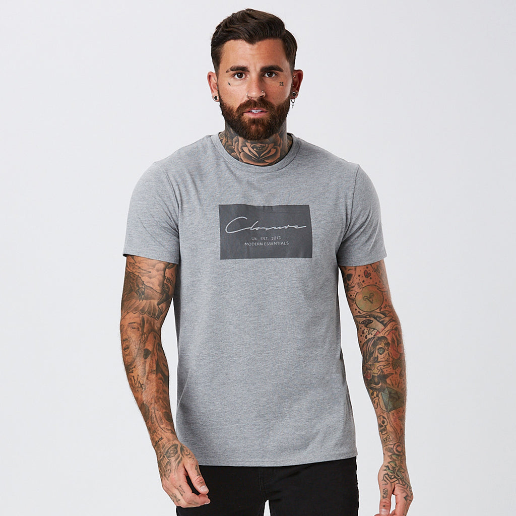 Box Logo Tee | Grey Marl