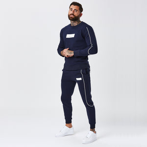 Piped Jogger | Navy