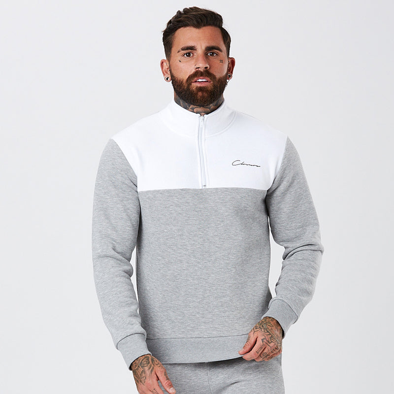 Panelled Funnel Neck Tracktop | Grey/White