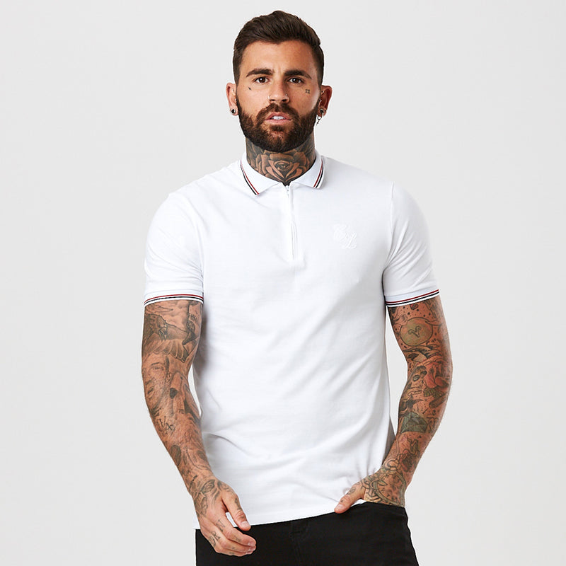 1/4 Zip Polo with Tipping | White