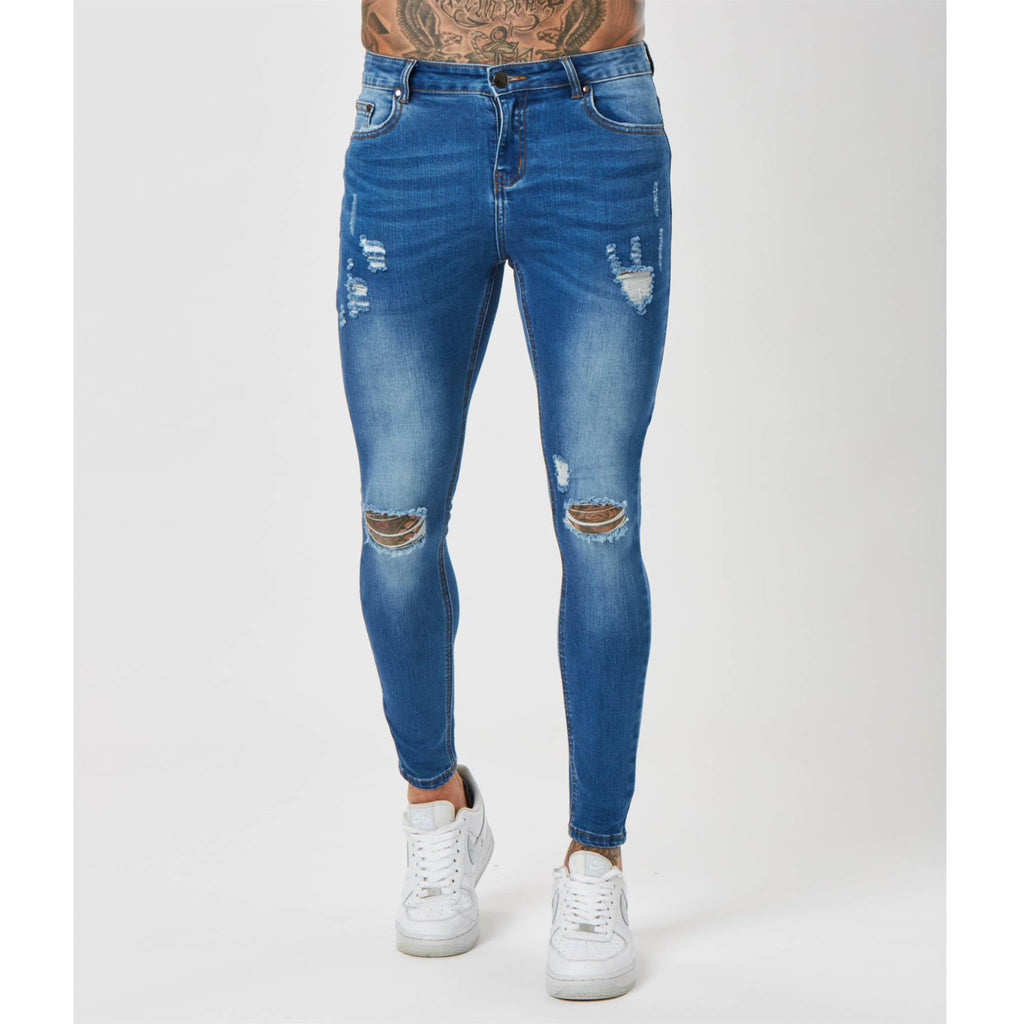 Spray On Ripped Jeans | Mid Blue