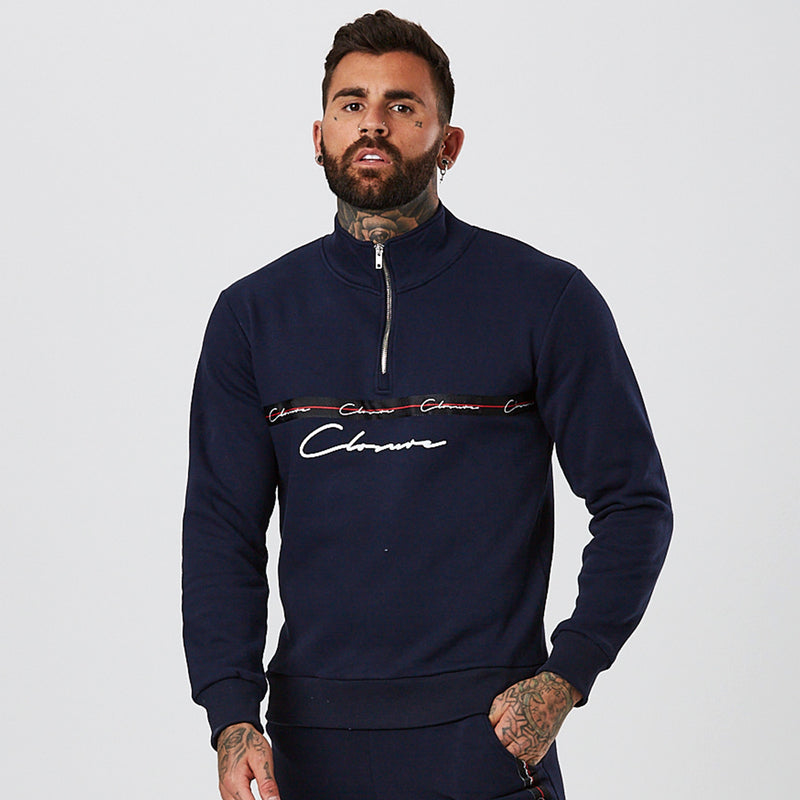 Taped Half Zip Funnel Neck | Navy