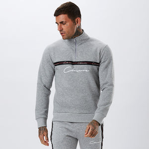Taped Half Zip Funnel Neck | Grey