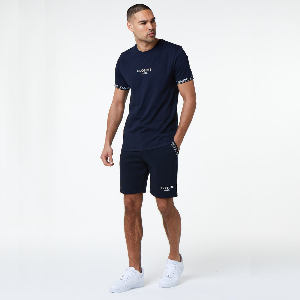 Branded Hidden Band Tee/Short Set | Navy