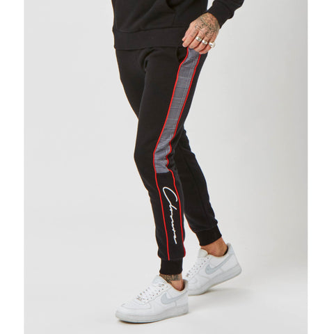 Cut N Sew Piped Checked Jogger | Black