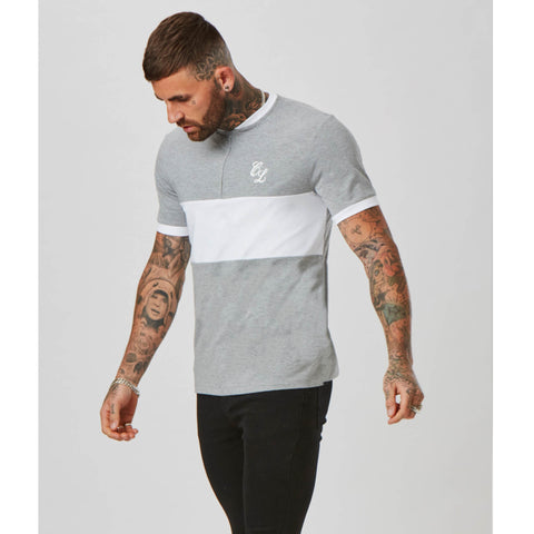 Band 1/4 Zip Tee | Grey White