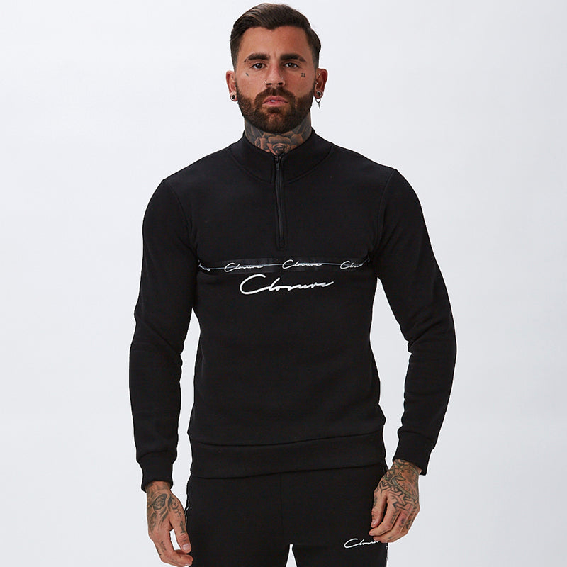 Taped 1/4 Zip Funnel Neck | Black