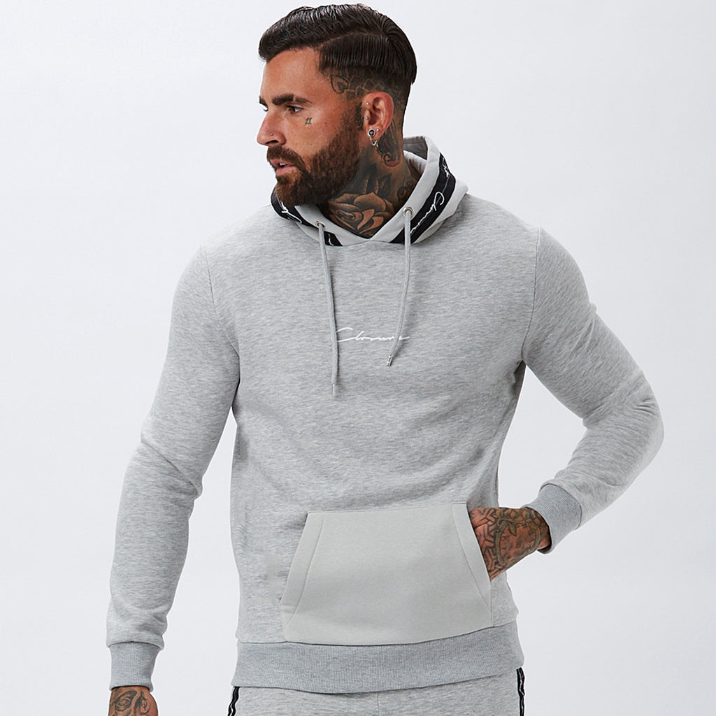 Contrast Taped Hoody | Light Marl