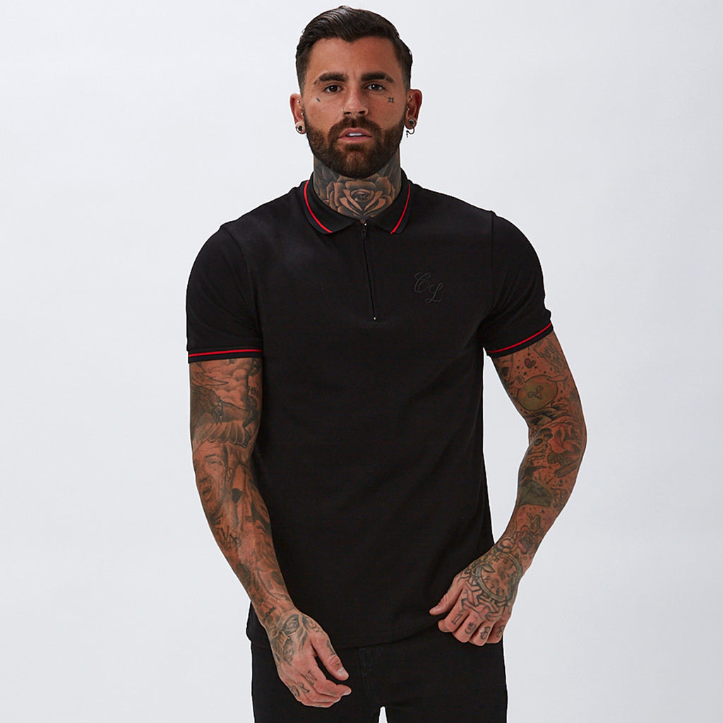 Zipped Polo with Tipping | Black