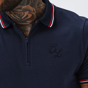 Zipped Polo with Tipping | Navy