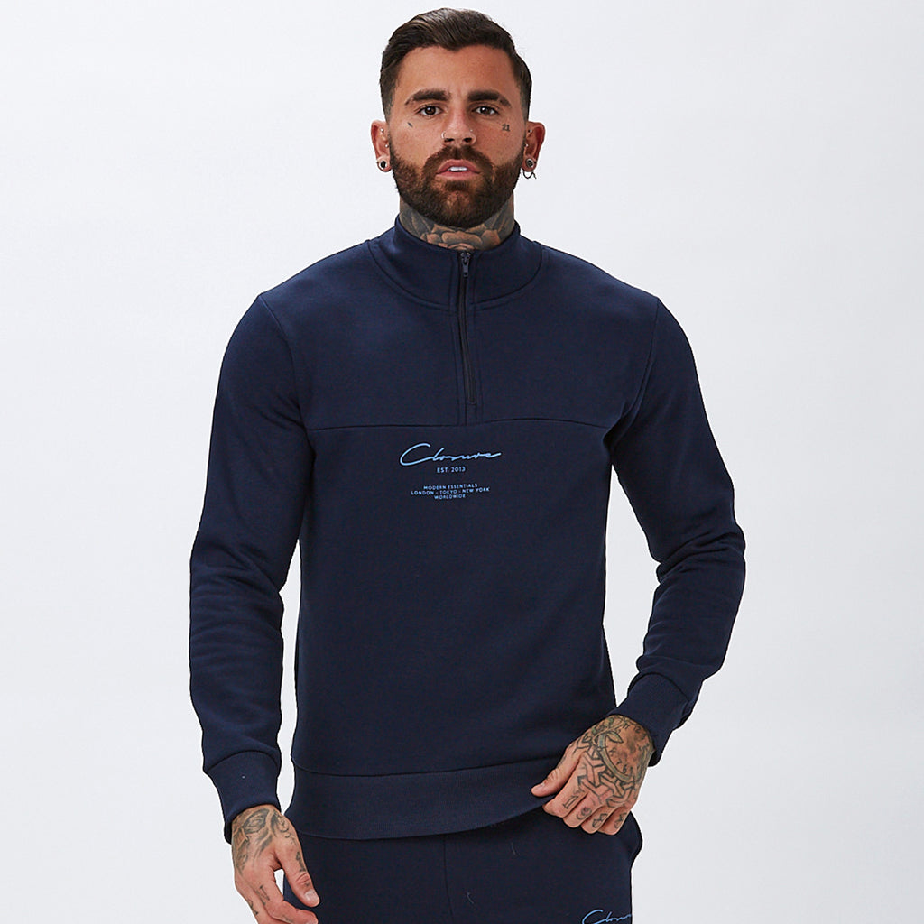 Essentials Funnel Neck | Navy