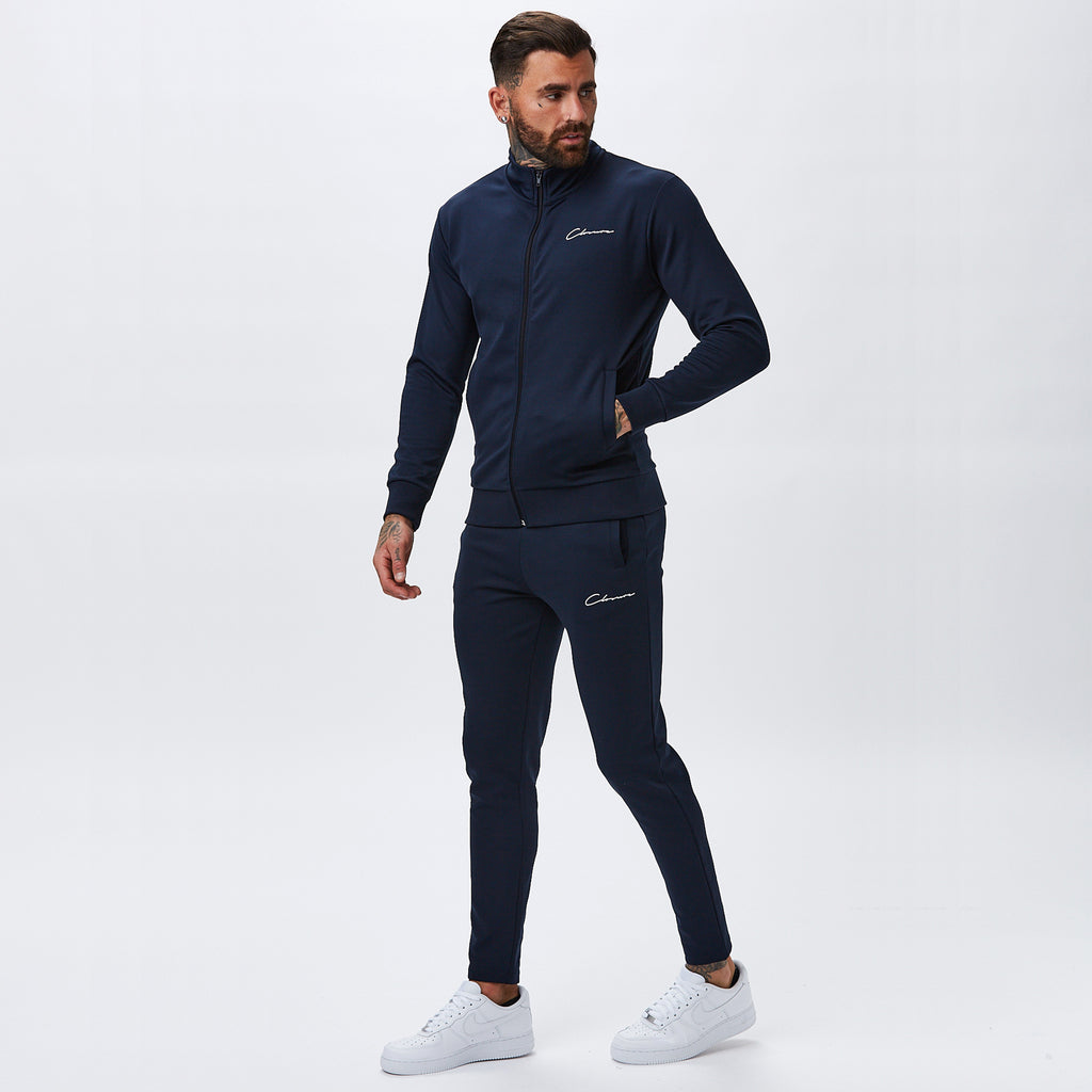 Essentials Funnel Neck Tracktop | Navy