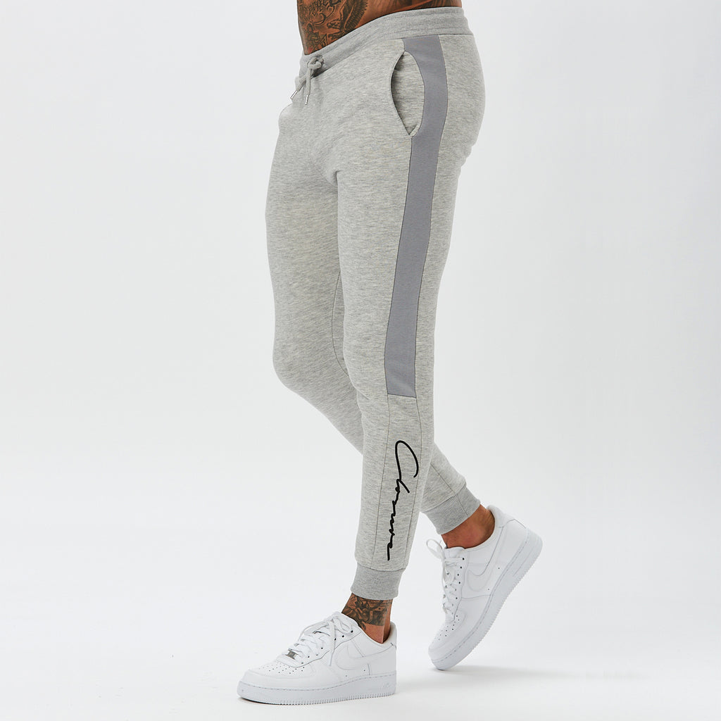 Panelled Jogger | Light Grey Marl