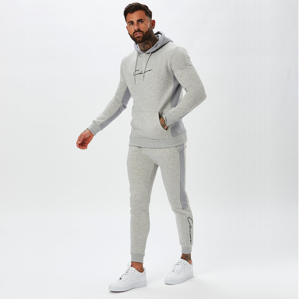 Panelled Hoody | Light Grey Marl