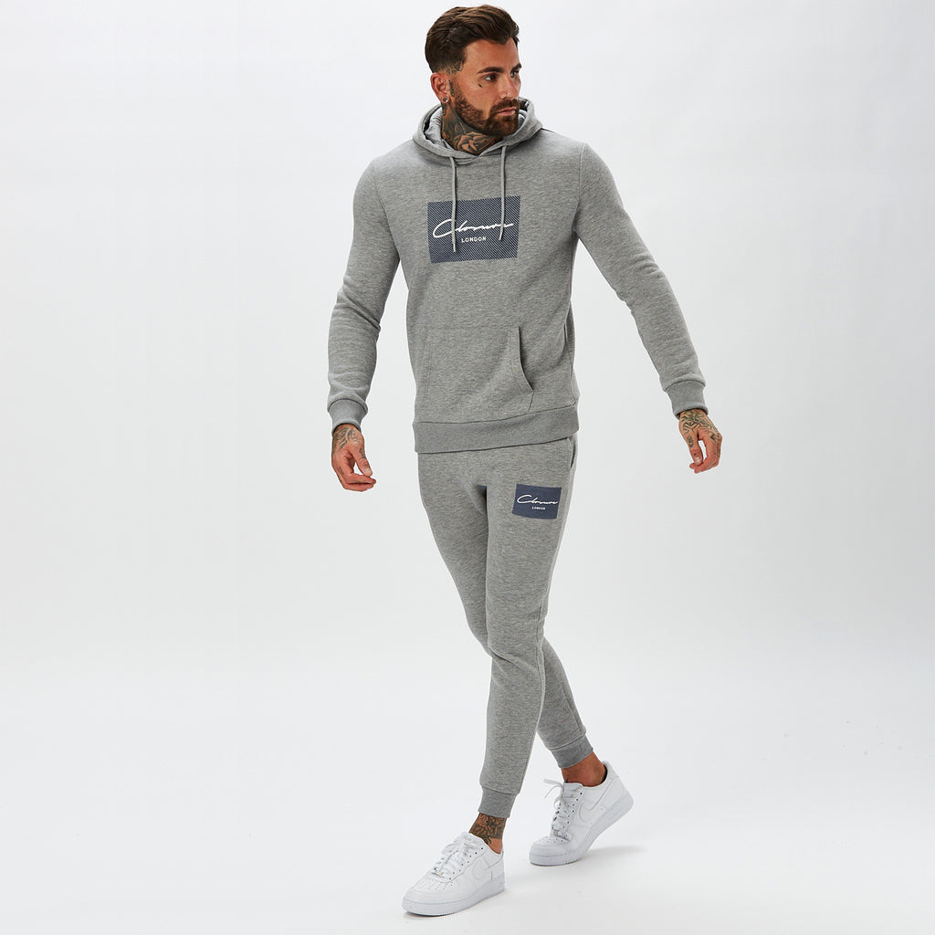 Diagonal Box Logo Jogger | Grey Marl