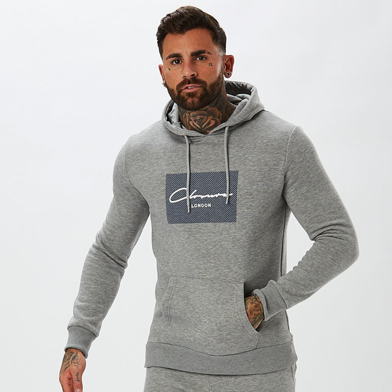Diagonal Box Logo Hoody | Grey Marl