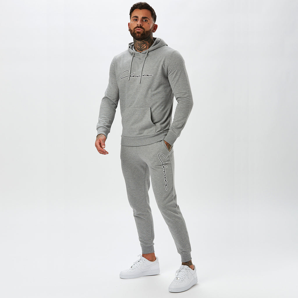 Double Script Tracksuit | Grey Marl