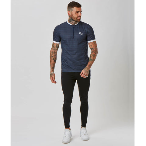 Ringer Check 1/4 Zip Tee | Navy