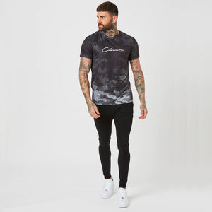 Washed Acid Camo Tee | Black