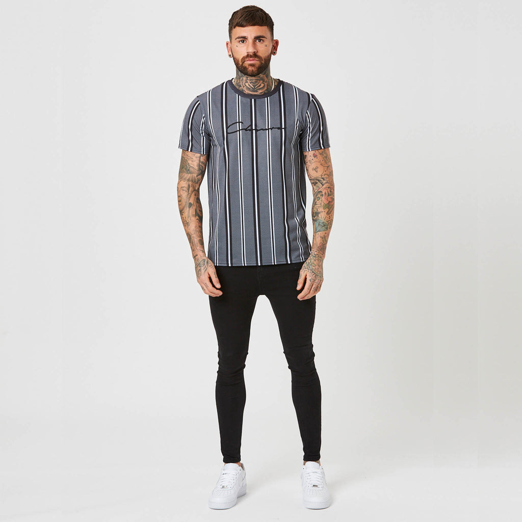 Stripe Herringbone Tee | Grey