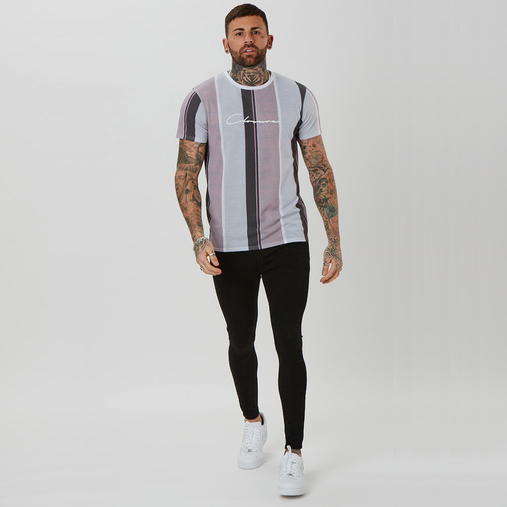 Textured Stripe Tee | Pink
