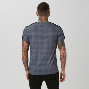 Panelled Checked Script Tee | Check