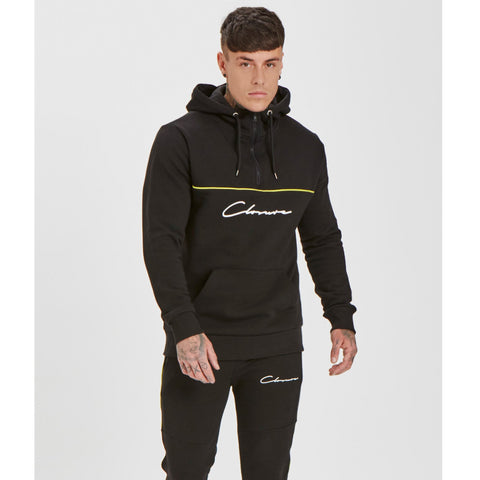 Neon Piped 1/4 Zip Hoody | Black