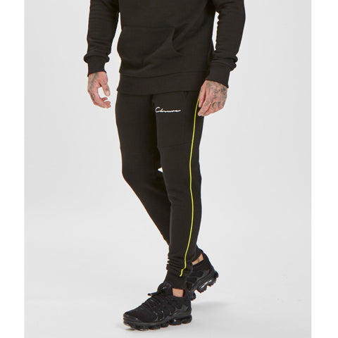 Neon Piped Jogger - Black