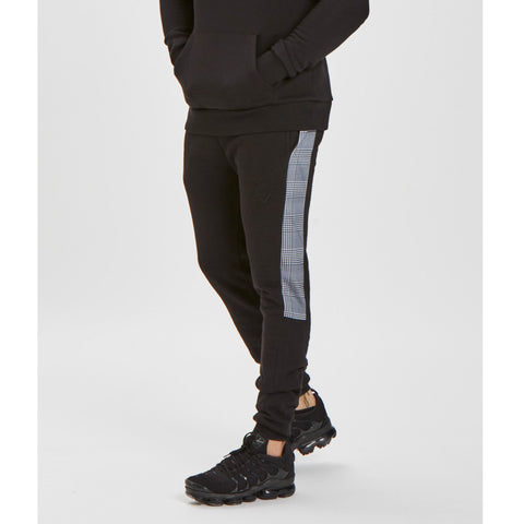 Contrast Checkered Jogger - Black