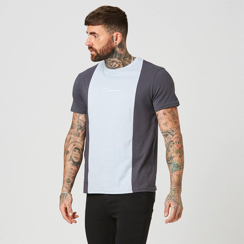 Vertical Cut N Sew Tee | Grey