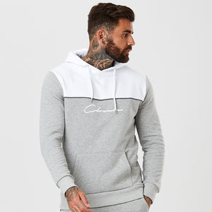 Contrast Panel Piped Hoody | Grey White