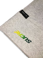 GREY ATHLETIC HEATHER TEE SHIRT WITH A RETRO GREEN TO YELLOW FADE LOGO ON THE FRONT LEFT CHEST
