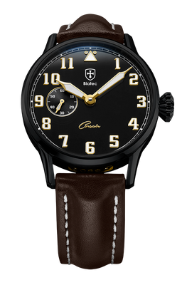 Biatec Corsair 02 - automatic pilot watch - dark brown leather strap