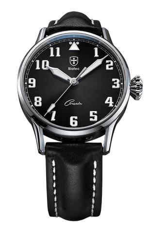 Biatec Corsair CS 01 - automatic pilot watch - black leather strap