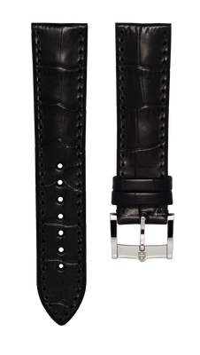 Leather strap with croco pattern - black - 22 mm - steel buckle