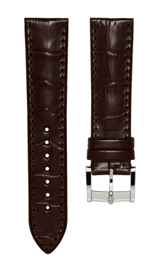 Leather strap with croco pattern - dark brown - 22 mm - steel buckle