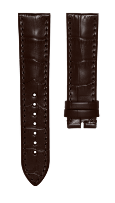 Leather strap with croco pattern - dark brown - 22 mm - no buckle
