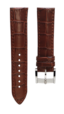 Leather strap with croco pattern - light brown - 22 mm - steel buckle