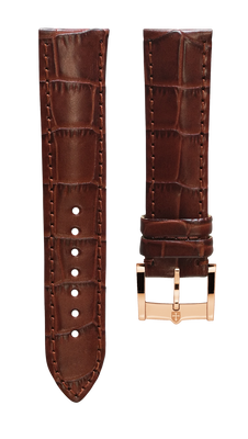 Leather strap with croco pattern - light brown - 22 mm - rosegold plated buckle