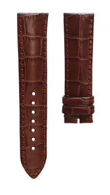 Leather strap with croco pattern - light brown - 22 mm - no buckle