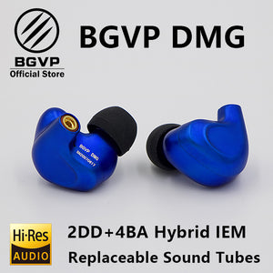 BGVP DMG HIFI Earphone 2DD+4BA Hybrid IEM Technology in-ear types with MMCX replaceable cable design aluminium alloy shell