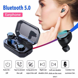 Bluetooth Earphones with Microphone Waterproof Ture Wireless Earbuds Sports earphone Noise Cancelling Headset and Charging Box (Black)