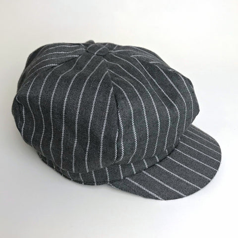Striped Panelled Baker Boy Hat